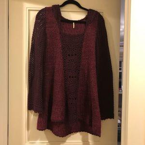FreePeople maroon crochet knit tunic